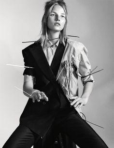 Suvi Koponen wears Jacket and pants Paul Smith. Photography Christian MacDonald i-D