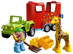 Load the baby giraffe onto the Circus Transport and hit the road!