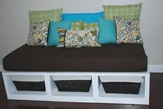 Re-purpose a crib mattress. Love this idea for the playroom.