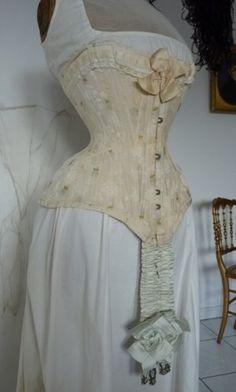 1890 Victorian corset, undergarments, lingerie.