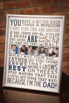 @ Jaimee Miller and Amber Herron - can you imagine what this would look like for your Dad?  :))  DIY Father's Day Subway Art Gifts