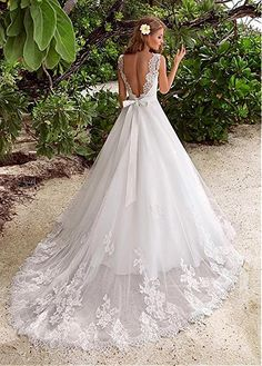 Dressylady Charming Lace Appliques Backless Wedding Dress for Bride with Beaded Belt(24w)