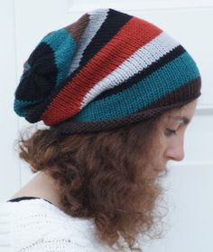 Stripey Knitted Slouchy Dreads Beanie Hat by slouchiehats on Etsy, $18.00