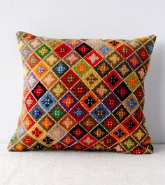 Joy Thorpe | Online furniture | curious | art shop selling original prints and antiques | Vintage Cross Stitch Cushion