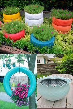 35 beautiful DIY planter ideas with great tutorials! How to make your own DIY planters and flower pots easily using simple materials and up-cycled objects: from designer wood planters, pallet planters to bottle planters, and lots more! Wood Planters, Flower Planters, Garden Planters, Flower Pots, Planter Ideas, Glass Garden, Hanging Planters, Tire Garden, Vegetable Planters