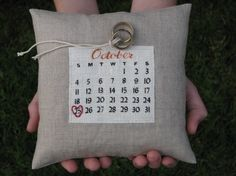 Calendar ring bearer pillow