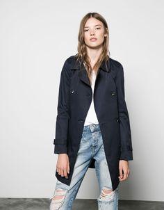 Bershka basic cotton trench coat - Coats - Bershka Singapore