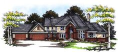 Luxury Style House Plans - 6322 Square Foot Home , 2 Story, 4 Bedroom and 4 Bath, 4 Garage Stalls by Monster House Plans - Plan 7-163