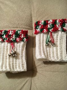 Christmas Boot Cuffs Bells White Red Green Silver Sparkles | Etsy