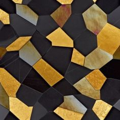 Black marble mosaic and gold leaf Caleidos Gold (Sicis) Geometric Patterns, Floor Patterns, Wall Patterns, Textures Patterns, Print Patterns, Marble Mosaic, Mosaic Tiles, Tiling, Stone Mosaic