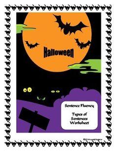 Halloween Types of Sentences Worksheet FREE