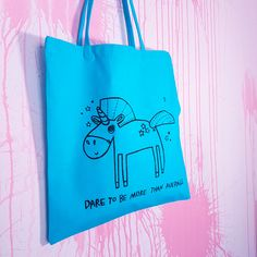 Unicorn Tote, Ocean Turquoise Gym Gear, Library Books, Smudging, Screen Printing, Upcycle, Unicorn, Weaving, Reusable Tote Bags, Ocean