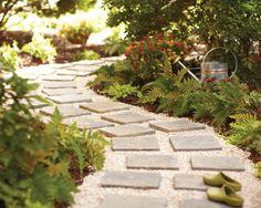 DIY Paver Path with Pea Pebbles.