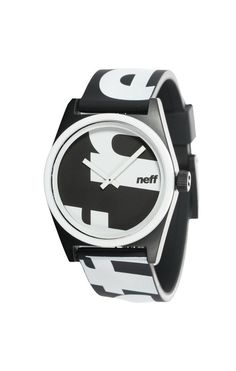 Neff Daily Wild Watch Yell Black White Allover Printed Rubber Adjustable Band #Neff #Fashion