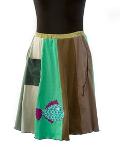 Upcycled, recycled, appliqué green/brown t-shirt skirt with a fish and hook