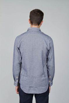 Vangelis Panel Shirt - Diagonal Cozy Navy Blue   Shirting