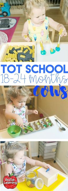 This Tot School Cow Unit is intended for month old toddlers. It includes one week of plans including fine motor skills tot trays activities sensory box ideas art project activities book lists song lists and printables. 18 Month Old Activities, Toddler Learning Activities, Games For Toddlers, Montessori Toddler, Toddler Play, Montessori Activities, Infant Activities, Toddler Crafts, Time Activities