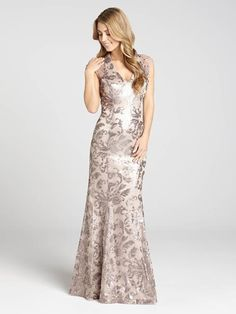 Laura | Sequin & Mesh V-Neck Satin Gown - Stone