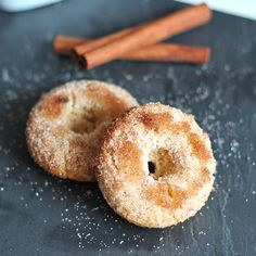 Baked Cinnamon Sugar Donut #Recipe a little healthier than the classic deep fried donut.
