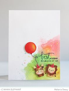 Mama Elephant and ME Challenge. Card by melania deasy using stamp sets Cosmic Stars, Honey Bunny, Everyday Greetings and Party Kit.