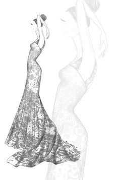 donia casar by mary cat# wedding dress# wedding sketch