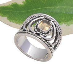 925 SOLID STERLING SILVER LATEST CITRINE CUT DESIGNER RING 9.14g DJR3712 #Handmade #Ring