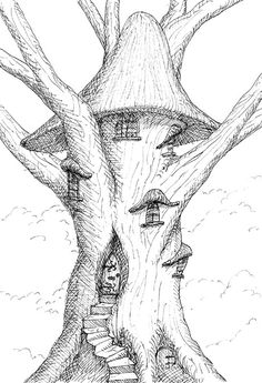 Treehouse Drawings | The Elves, masters of the tree house building art, have no difficulty ...