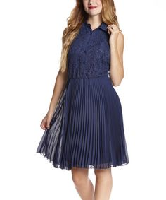 Look what I found on #zulily! Navy Blue Lace Button-Up Sleeveless Dress #zulilyfinds. I love this dress  very comfortable.