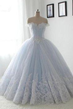 off shoulder A-line light blue long ball gown, PD756  #promdress #fashion #shopping #dresses #eveningdresses #2018prom