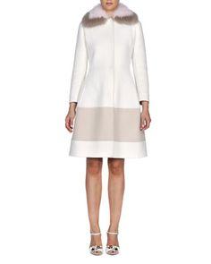 Fur-Collar Cashmere A-Line Coat by Fendi at Bergdorf Goodman.