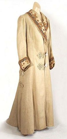 Embroidered linen coat, c.1910, from the Vintage Textile archives.