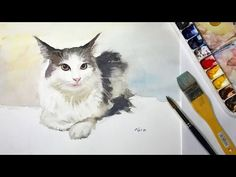 How to Paint Cat's Whiskers in Watercolor #1 - YouTube