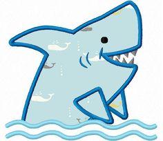shark applique machine embroidery design.