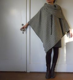 Asymmetric collar cape poncho. $70.00, via Etsy.