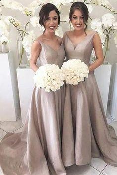 Simple V-neck Sleeveless Hi Low Sweep Train Silver Bridesmaid Dress PM615