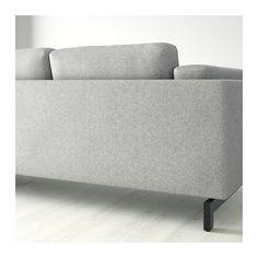 NOCKEBY 2er Sofa Mit Récamiere Links   Links/Tallmyra Weiß/schwarz, Holz
