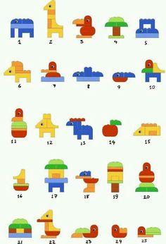 Beautiful ideas for Duplo Duplo Lego creative dyslexia dyslexia training dyscalculia dyscalculia training AFS method learning fine motor skills Legos, Lego Duplo Animals, Instructions Lego, Lego Therapy, Lego Club, Lego Craft, Lego For Kids, Lego Projects, Cool Lego