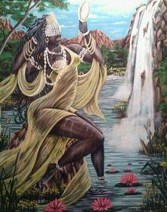 Oshún by Jesus Miguel Quintana❤ Orisha, Yoruba Religion, Ifa Religion, Oshun Goddess, African Goddess, Haitian Art, Black Love Art, Black Artwork, Afro Art