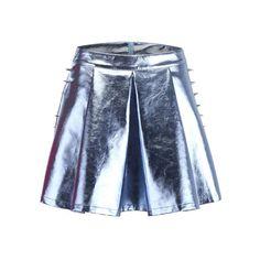 Rivets Detailed Metallic Skirt (64 AUD) ❤ liked on Polyvore featuring skirts, bottoms, metallic, embellished skirt, blue metallic skirt, zipper skirt, knee length skater skirt and skater skirt