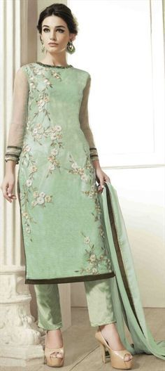 454889 Green  color family Party Wear Salwar Kameez in Net fabric with Machine Embroidery, Resham, Thread work .