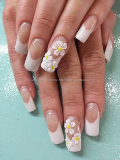 White acrylic tips with 3d flower nail art
