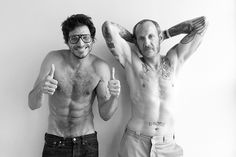 Terry Richardson - guy on the right. Squinch, camera off center. head turned toward camera. side lite