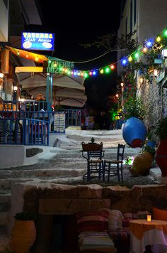 Kos by night #Kos #Greece this is the beautiful restaurant called the Fish house and the bar below is called Sitar and are situated in Kos Town