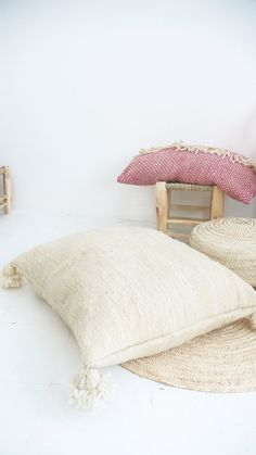 Giant Moroccan POM POM pillow cover - wool natural undyed