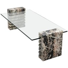 Large Marble and Glass Coffee Table | From a unique collection of antique and modern coffee and cocktail tables at https://www.1stdibs.com/furniture/tables/coffee-tables-cocktail-tables/