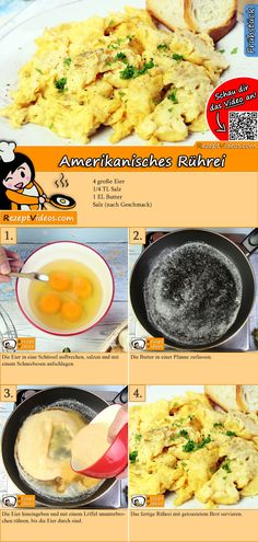 American scrambled egg recipe with video - American cuisine - American scrambled eggs are a very popular and simply prepared breakfast. The American scrambled eg - Good Food, Yummy Food, Egg Recipes For Breakfast, Hungarian Recipes, French Toast Casserole, Scrambled Eggs, Food Videos, Food To Make, Easy Meals