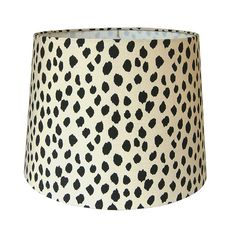 Lamp shade constructed from scratch and covered with a dotted fabric. This dot pattern is suitable for lamp shades, pendant shades, chandelier