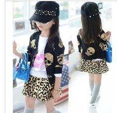 Free shipping new 2014  spring clothing girls black bronzier skull long-sleeve motorcycle outerwear zipper-up jacket coat #Affiliate