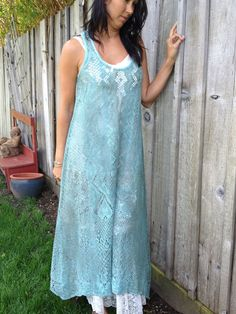 Beautiful one of a kind teal lace dress made from hand-dyed vintage tablecloth. $95.00, via Etsy.