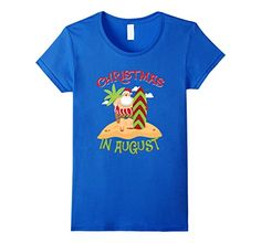 Womens Christmas In August T Shirt - Santa Surfing  XL Royal Blue